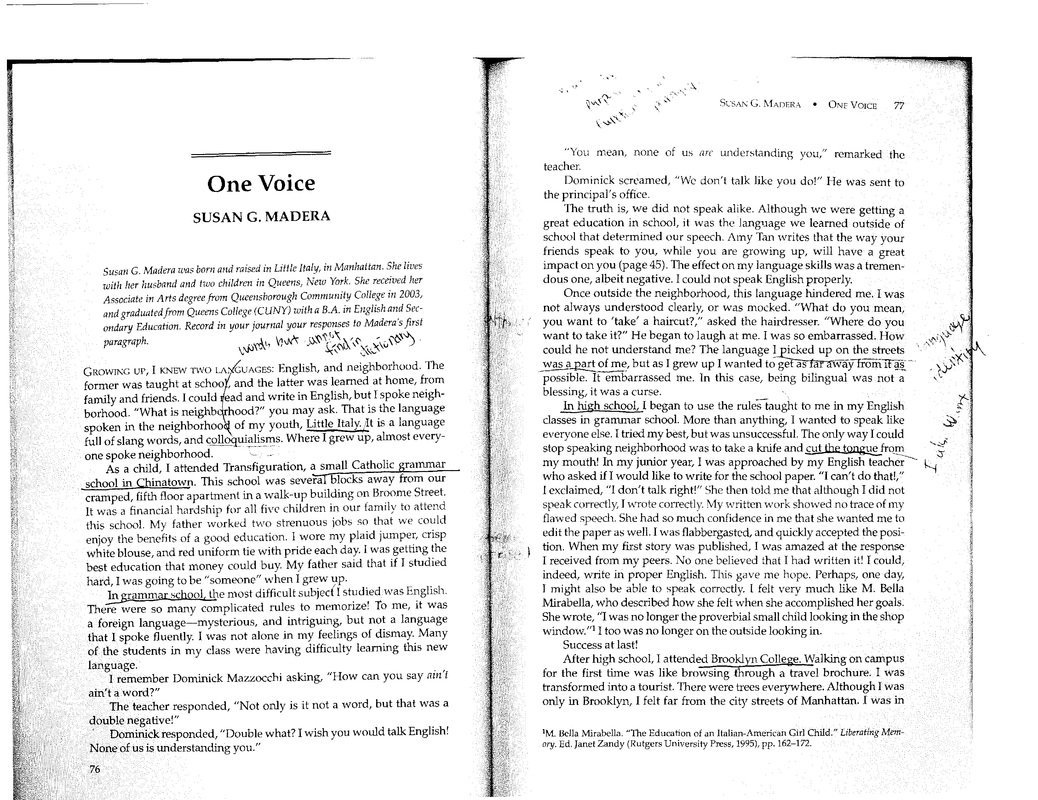 one voice by susan g madera One voice by susan madera is a story that i related very well with growing up with a severe stuttering problem i can feel her pain in being unhappy with her speech.